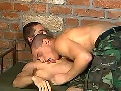 Handsome army boy cums on his friend after oral